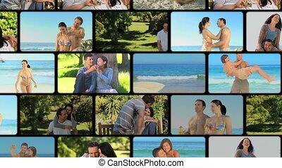 montage, moments, partage, couples
