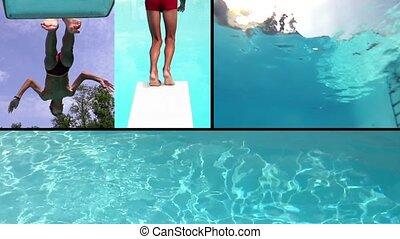 montage, piscine