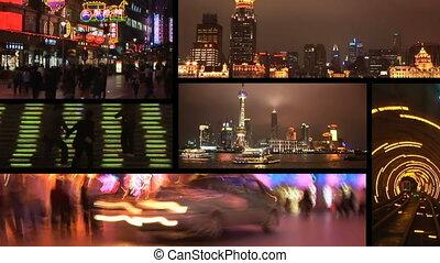 montage, porcelaine, shanghai, nuit