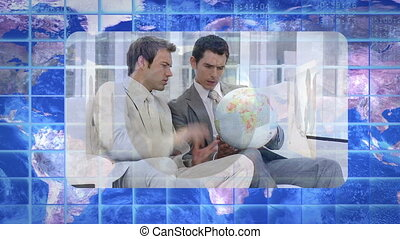 montage, projection, business, vidéos