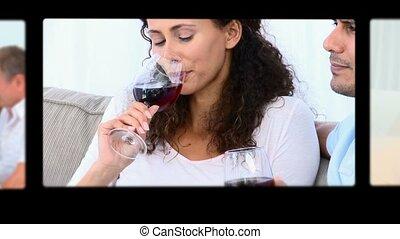 montage, vin, gens, boire