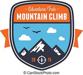 montagne, écusson, emblème, aventure