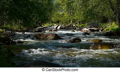 montagne, 3, rivière