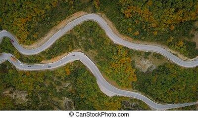 montagne, aérien, conduite, trafic, grèce, long, route, vue