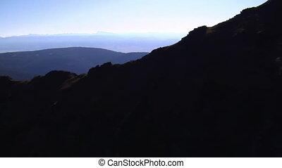 montagne, aérien, crêtes, murs, coup, falaise