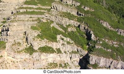 montagne, aérien, falaises, coup