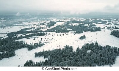 montagne, aérien, montagnes, méridional, pologne, levée, tatra, coup, pentes, ski
