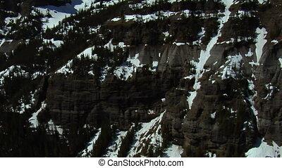 montagne, aérien, rocailleux, neige-couvert, falaises, coup