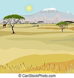 montagne, africaine, paysage, idéaliste