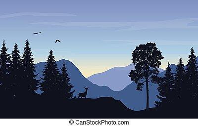 montagne, aigle, soleil, cerf, illustration, réaliste, forêt, vecteur, levée, sous, paysage, ciel