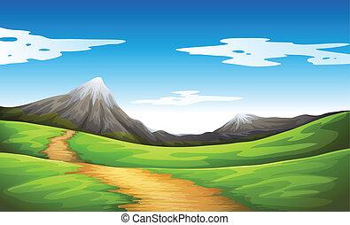 montagne, aller, chemin