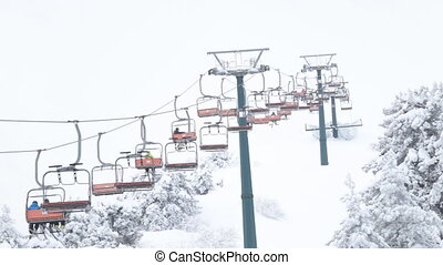 montagne, ascenseur, station sports hiver
