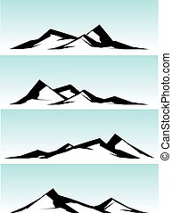 montagne, blanc, arête, noir