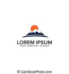montagne bleue, illustra, color., vecteur, coucher soleil, orange, logo.