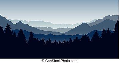 montagne bleue, nature, forêt, brumeux, paysage