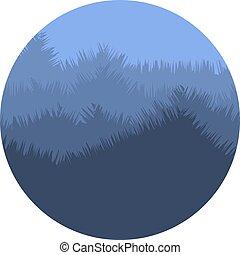 montagne bleue, naturel, illustration., brumeux, couleur, logo., résumé, isolé, arbres, environnement, logotype., forme, vecteur, silhouette, icon., crépuscule, rond, paysage