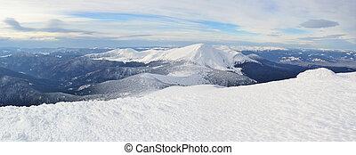 montagne, carpathians, paysage hiver