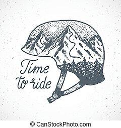 montagne, casque, cavalcade, résumé, ou, dotwork, snowboard, vecteur, temps, dessiné, main, ski, style., paysage