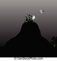 montagne, château, halloween, jour, illustration