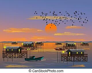 montagne, ciel coucher soleil, mer, bateau, mer, troupeau, oiseaux, peche, fond, village