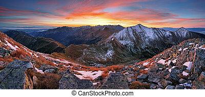 montagne, coloré, panorama, slovaquie, paysage, levers de soleil