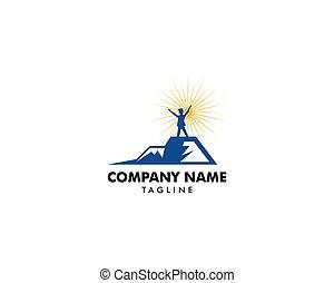 montagne, concept, sommet, réussir, direction, logo