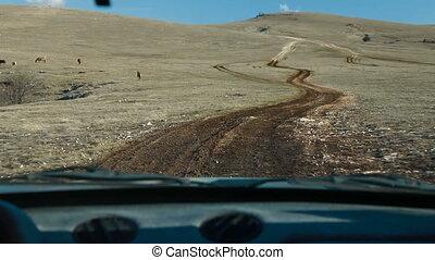 montagne, conduite, par, route, fermé