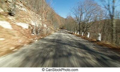 montagne, conduite, route