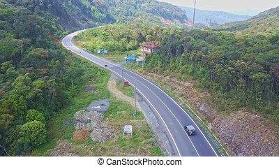 montagne, conduite, voiture, motel, voler, appareil photo, long, route, spectacles