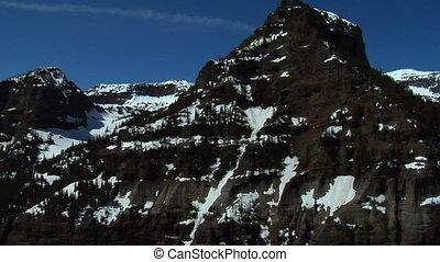montagne, coup, crêtes, fondre, neige, rocailleux, aérien