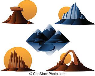 montagne, désert, icônes