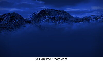 montagne, désert, neigeux, neige, clair lune, orage, nuit, (1125)