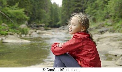 montagne, enfant, rive, séance