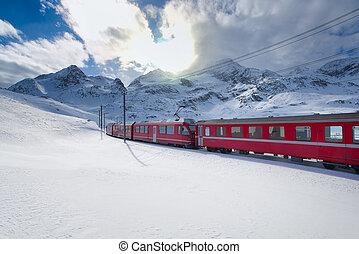 montagne, exprès, neige, bernina, élevé, train, traversé, suisse, par