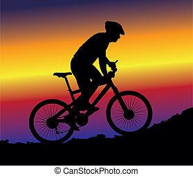 montagne faisant vélo, -, fond