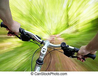 montagne faisant vélo, forêt