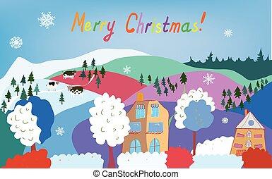 montagne, flocons neige, vaches, village, joyeux noël, carte