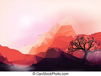 montagne, géométrique