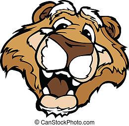 montagne, graphique, dessin animé, puma, lion, vecteur, sourire, ou, mascotte