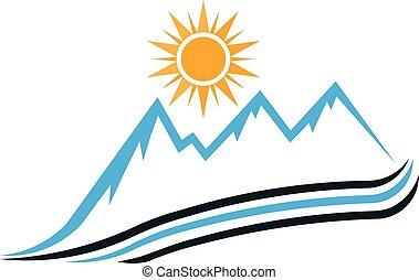 montagne, graphique, ensoleillé, vecteur, conception, manière, logo.