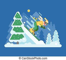 montagne, hiver, forêt, ski, équitation, homme