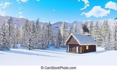 montagne, hiver, maison, neige a couvert, jour, alpin