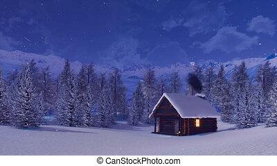montagne, hiver, maison, neige, nuit, couvert, alpin