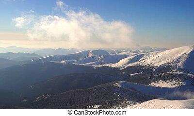 montagne, hiver, neige, soleil