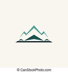 montagne, hiver, neige, vecteur, logo, icône