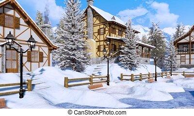 montagne, hiver, neige, village, couvert, jour, alpin