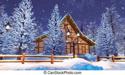 montagne, hiver, neigeux, maison, nuit, bois construction, alpin