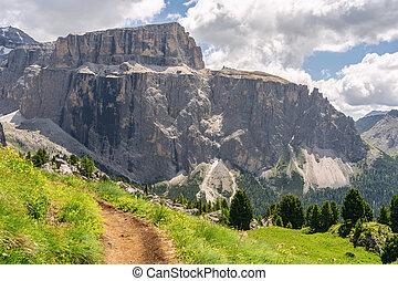 montagne, idyllique, rocheux, paysage, piste