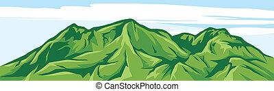 montagne, illustration, paysage