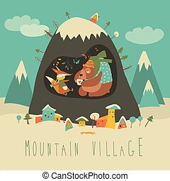 montagne, intérieur, caverne, renard, neige, ours, village, couvert